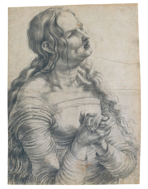 Matthias Grünewald, Half-figure of a Woman lamenting, c. 1512/15, Black chalk on paper, 40,4 (left)/41,5 (right) x 29,6 (above)/30,2 (below) cm, Oskar Reinhart Collection ʻAm Römerholz', Winterthur