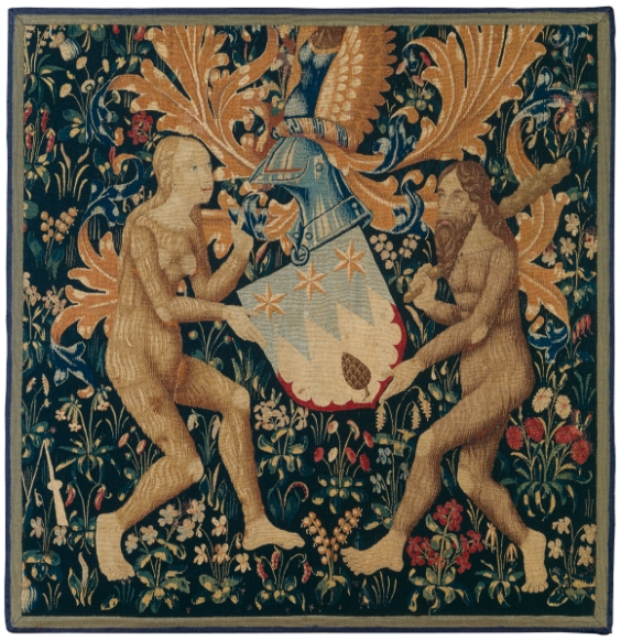 Tournai (?), Wild Woman and Wild Man bearing a Coat of Arms, last quarter 15th century, Tapestry weave, fragment, 117 x 112,5 cm, The Oskar Reinhart Collection 'Am Römerholzʻ, Winterthur