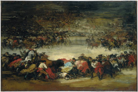 Attributed to Eugenio Lucas Villamil, Corrida, around 1880–85, Oil on canvas, 74 x 110 cm, Oskar Reinhart Collection 'Am Römerholz', Winterthur